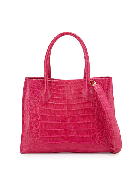 Crocodile Medium Convertible Tote Bag, Pink/Multi