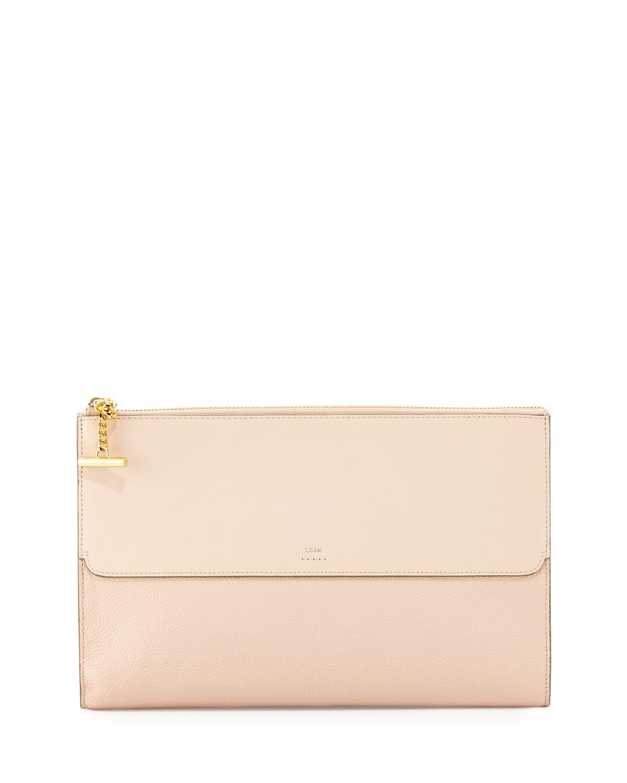 c139cd320d7 Chloe Joe Flat Grained Leather Clutch Bag | Neiman Marcus