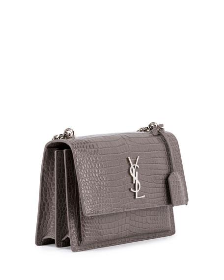 Sunset Medium Crocodile-Embossed Crossbody Bag