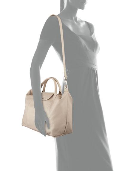 Le Pliage Cuir Medium Handbag with Strap
