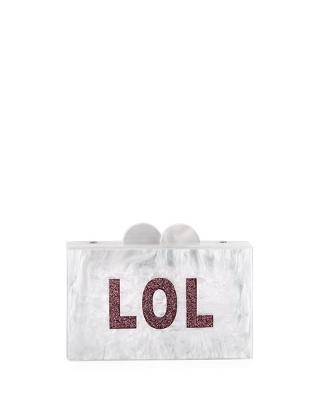 Girls' OMG/LOL Glittered Acrylic Box Clutch Bag