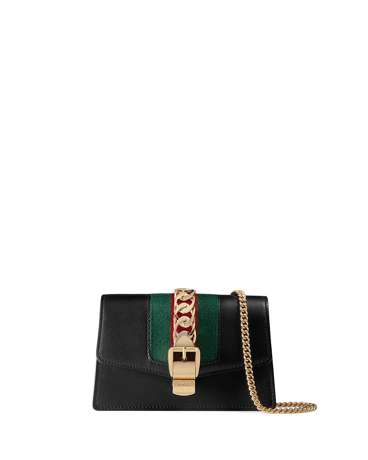 7b9075220 Gucci Sylvie Super Mini Leather Wallet on a Chain | Neiman Marcus