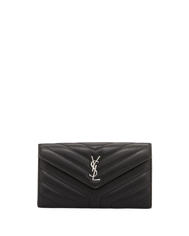8ac215934 Saint Laurent Loulou Monogram YSL Continental V-Flap Wallet   Neiman Marcus