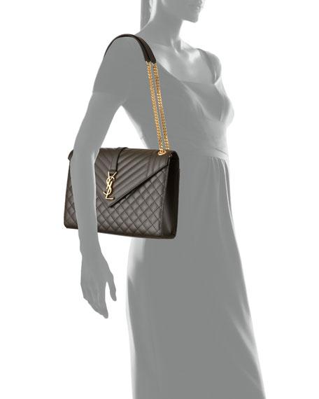 Saint Laurent Monogram YSL V-Flap Large Tri-Quilt Envelope Chain Shoulder Bag - Golden Hardware
