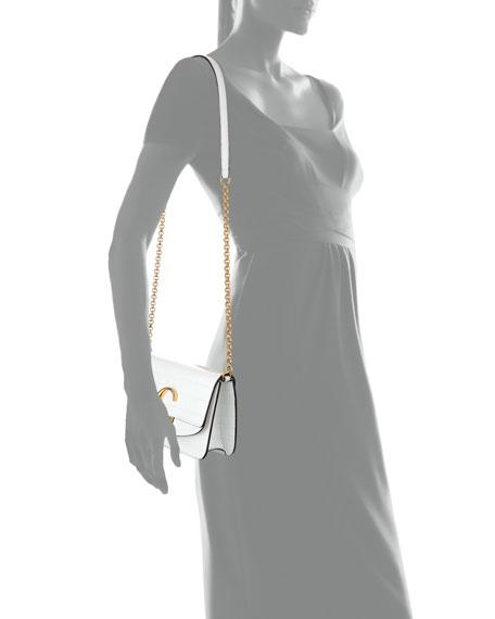Chloe C Croc-Embossed Leather Shoulder Bag