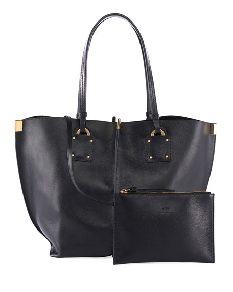 Chloe Vick Wide Leather Tote Bag