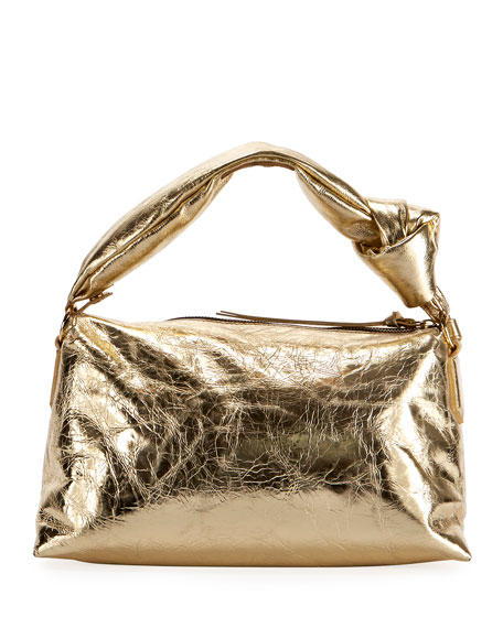 Dries Van Noten Metallic Crinkle Shoulder Bag