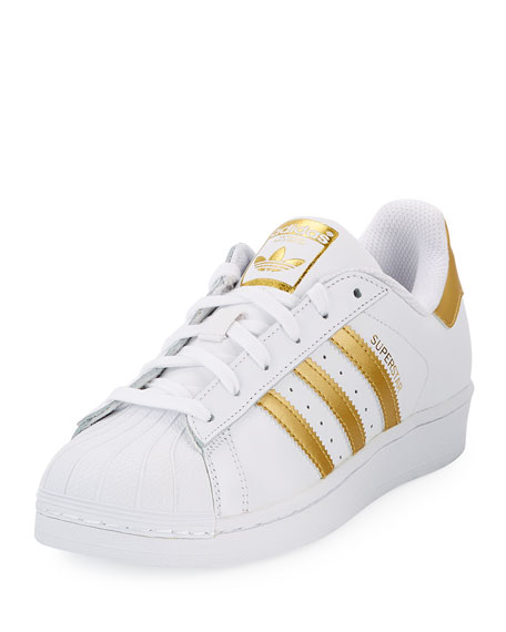 Adidas Superstar Original Fashion Sneaker, White/Gold