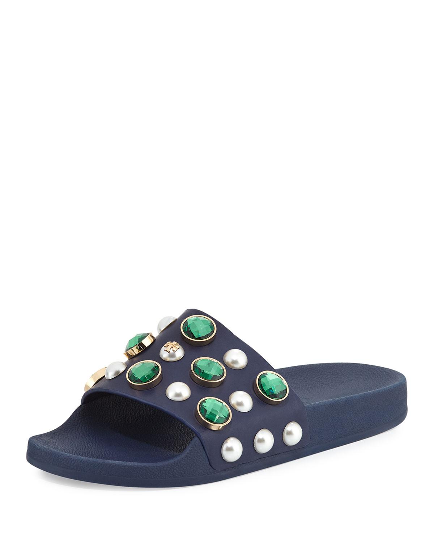 bf4fa20c9 Tory Burch Vail Jeweled Flat Slide Sandal