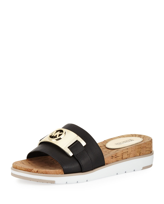 4576d530433 MICHAEL Michael Kors Warren Saffiano Cork Slide Flat Sandal
