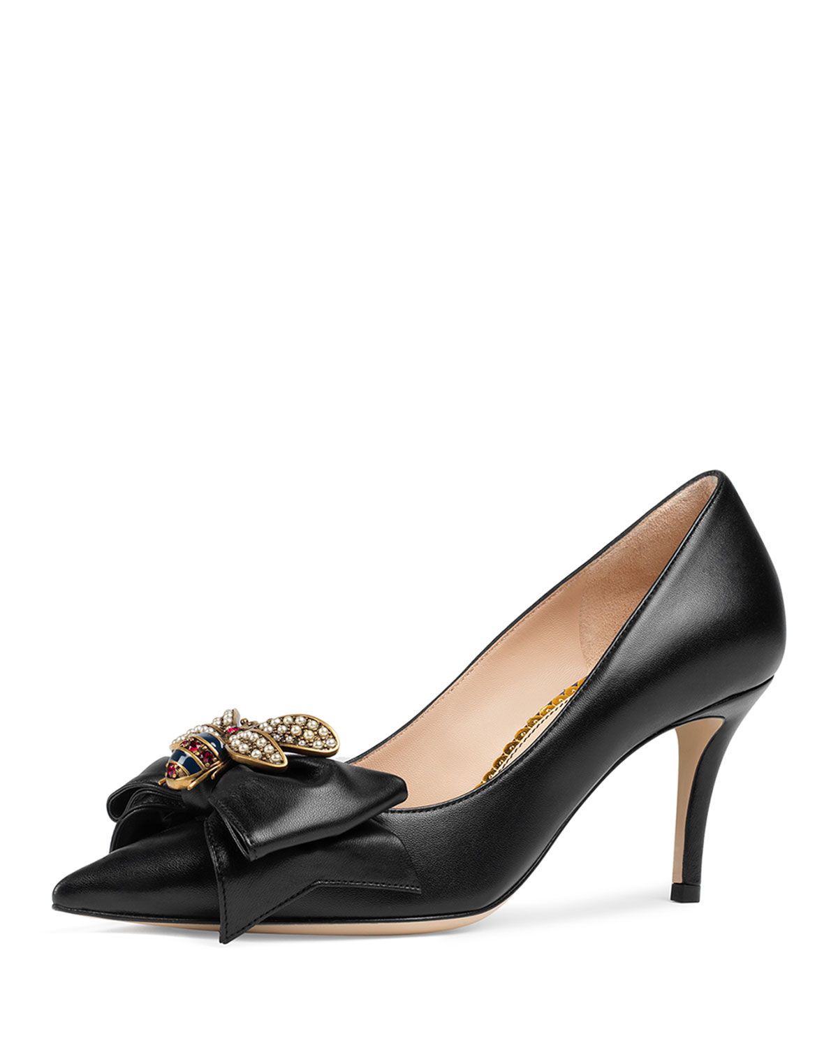 1a96ce900 Gucci 75mm Queen Margaret Leather Pump | Neiman Marcus