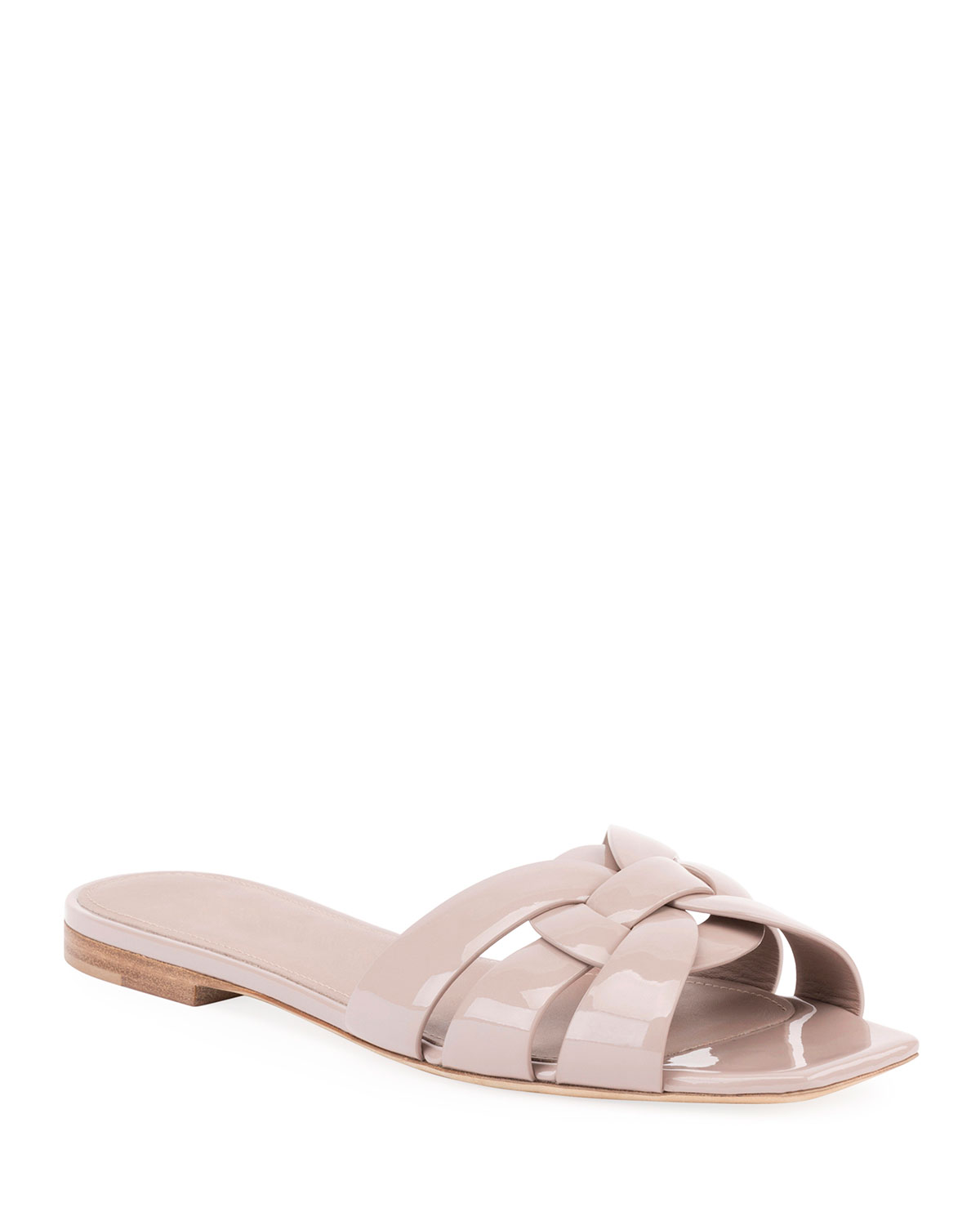 d87eef5299f Tribute Patent Leather Flat Slide Sandals