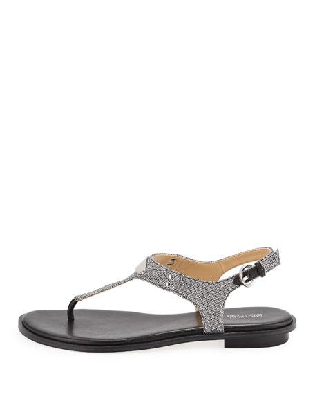 aa7543da3 MICHAEL Michael Kors MK Plate Metallic Thong Sandals | Neiman Marcus