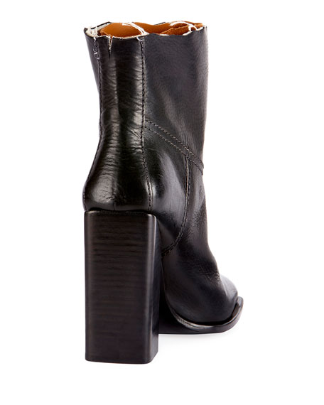 Raw-Edge Leather Block-Heel Boot