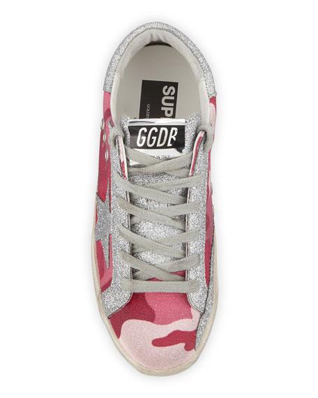 Golden Goose Superstar Glittered Camo Low-Top Sneakers