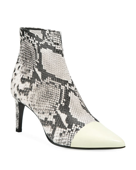 Rag & Bone Beha Snake-Print Leather Cap-Toe Booties