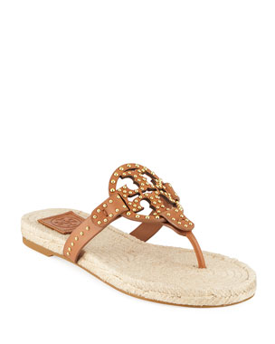 ad6b44903 Tory Burch Miller Studded Leather Espadrille Sandals