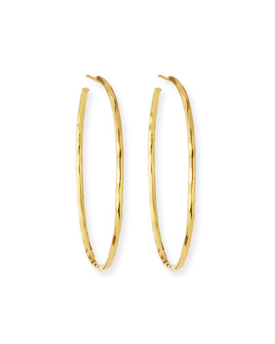 Thin Hammered 22k Gold-Plated Hoop Earrings