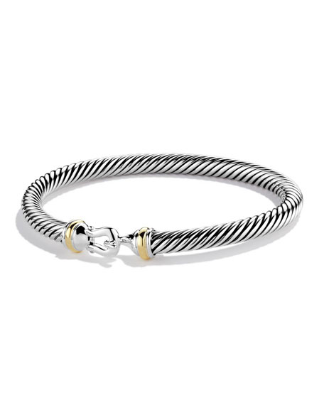 Image 1 of 5: David Yurman Cable Classic Buckle Bracelet with 18K Gold, 5mm