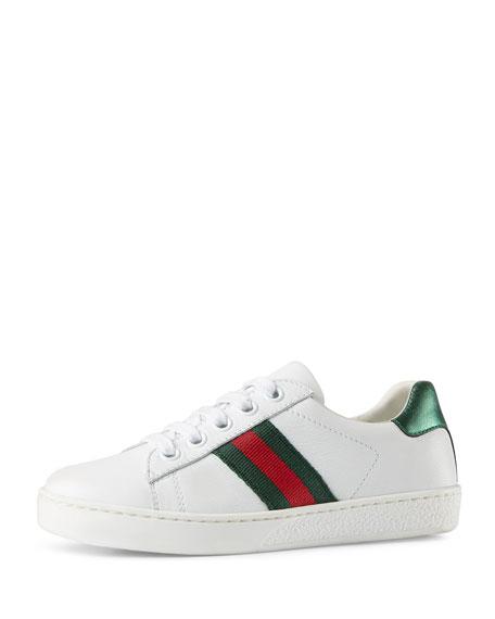 Gucci Enfants Sneaker En Cuir Avec Enfant En Bas Âge Web - Blanc LyJbFCm