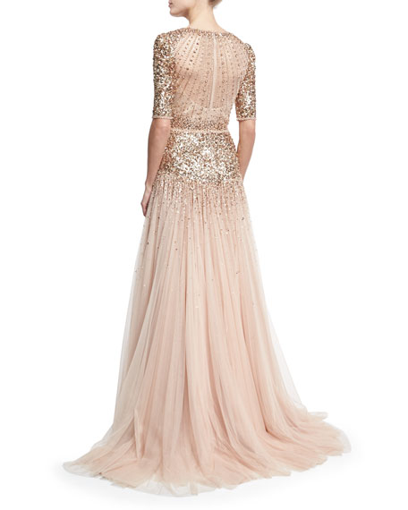 Beaded Short-Sleeve Tulle Gown