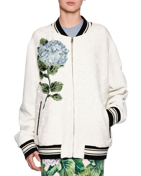 Dolce & Gabbana Hydrangea Jacquard Bomber Jacket, Off