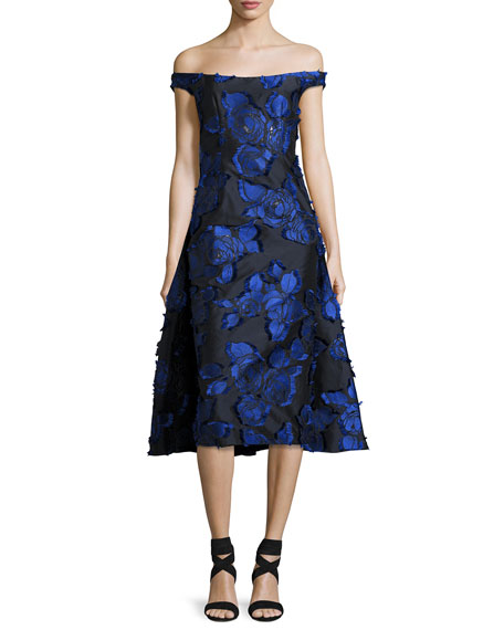 Lela Rose Off-the-Shoulder Floral Brocade Dress with Flounce