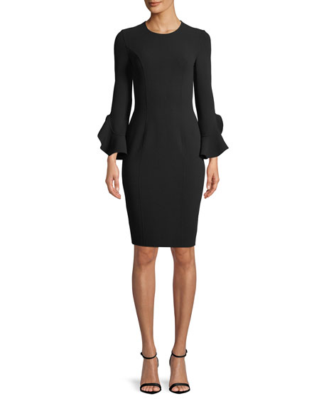 Michael Kors Collection Jewel-Neck Ruffle-Sleeve Stretch-Wool