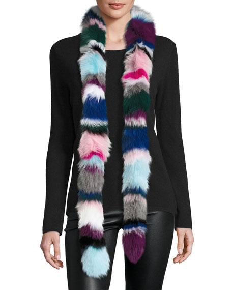 Rainbow Twist Fox Fur Scarf, Multicolor