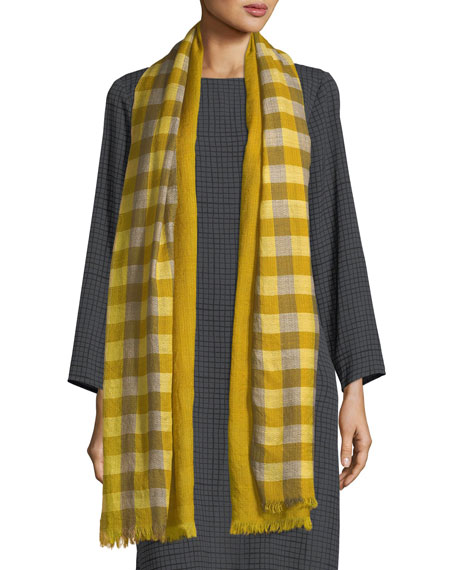 Hand-Loomed Fading Ikat Check Wool Scarf