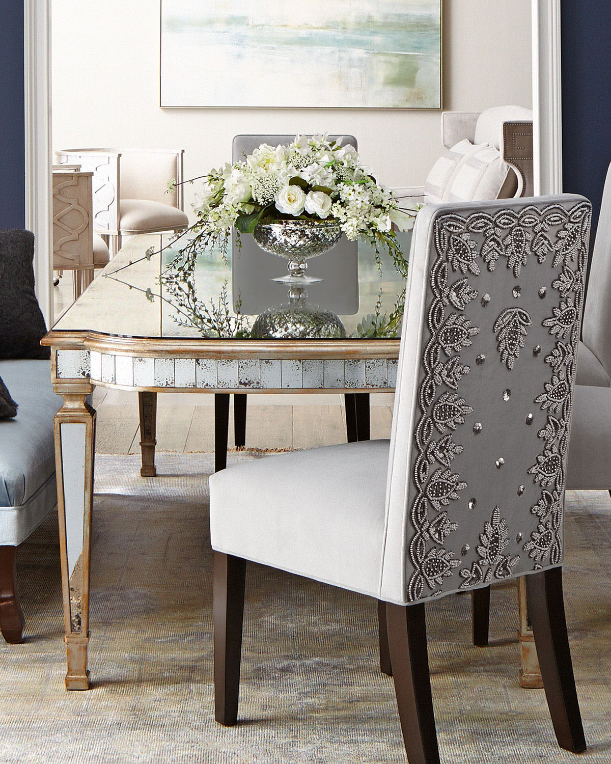 Eliza 96 L Antiqued Mirrored Dining Table