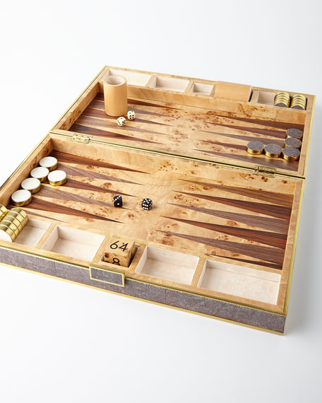 AERIN Chocolate Shagreen Backgammon Set