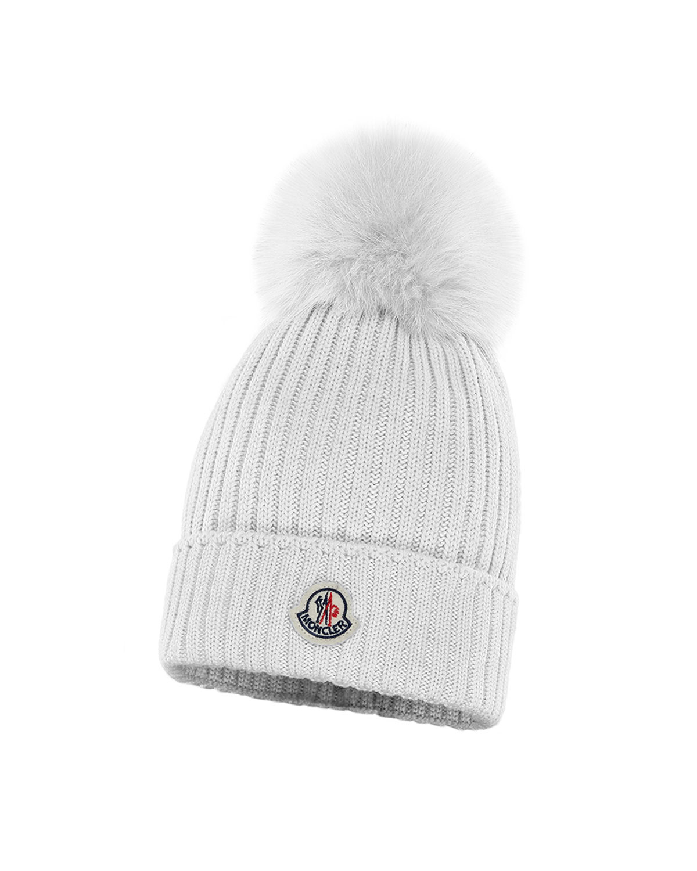 7f49e98a97b Moncler Kids  Rib-Knit Beanie Hat w  Fur Pompom
