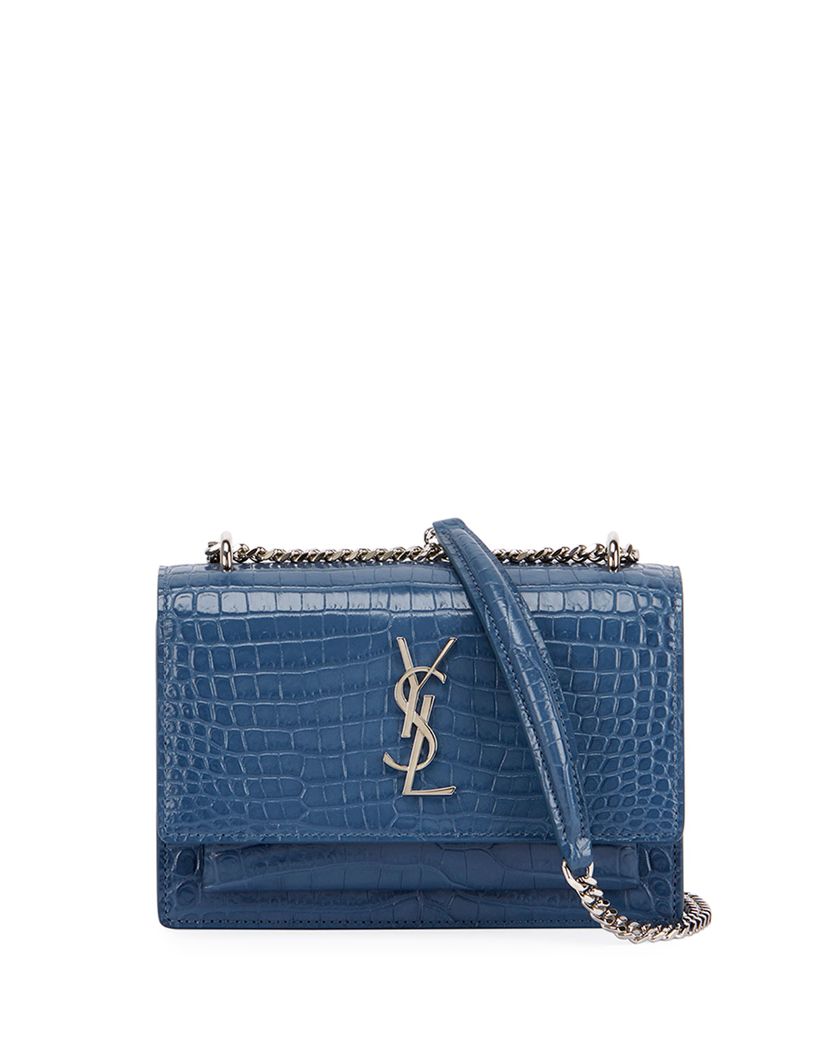 d5d680dcf5 Saint LaurentSunset Monogram YSL Small Crocodile Embossed Wallet on Chain