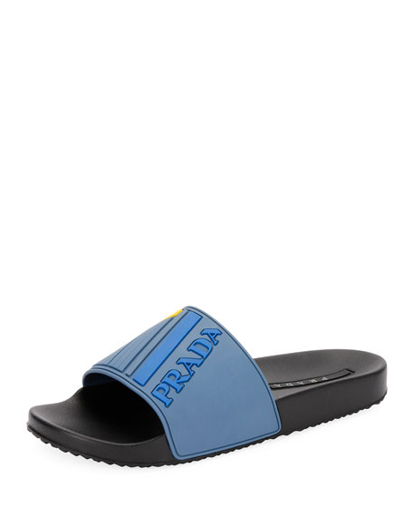 cf0409d44e38 Prada Men s Logo Rubber Slide Sandals