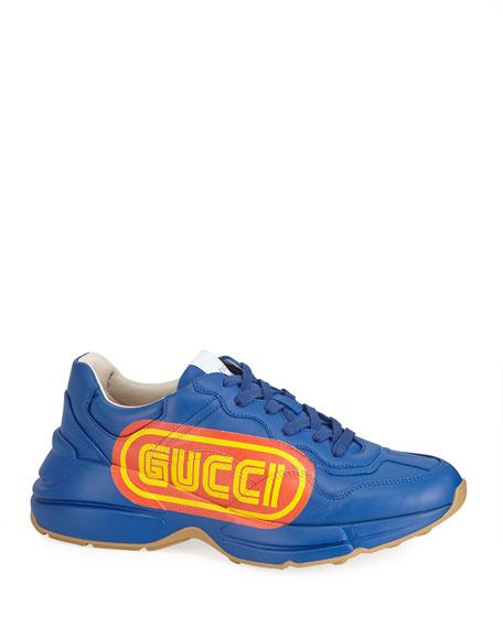 Gucci Rhyton Gucci Print Leather Sneaker  14bd8621dd468