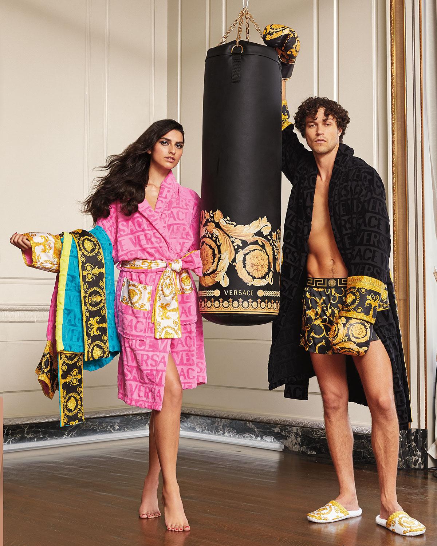 Versace Men S Barocco Sleeve Robe Neiman Marcus