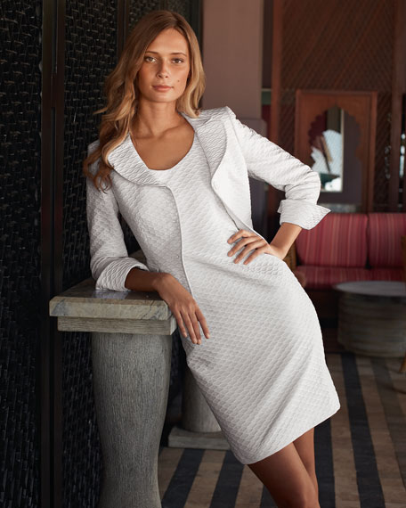 Diamond-Textured Jacket & Dress Set