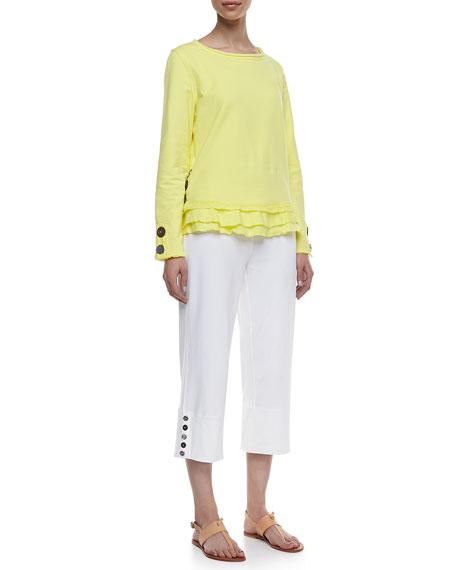 Seascape Button-Cuff Capri Pants