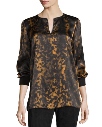 Kelsey Leopard-Print Split-Neck Blouse  Black/Multi