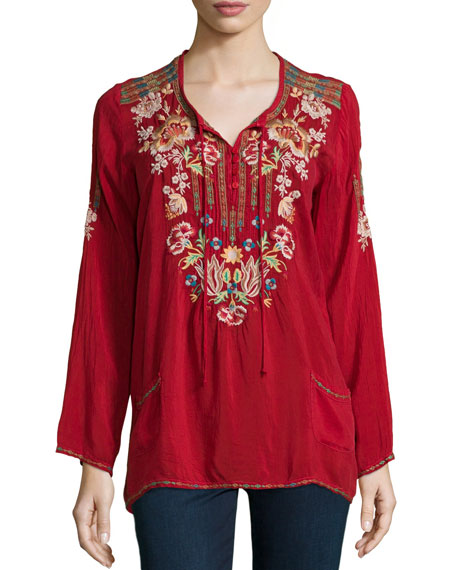 Carnation Long-Sleeve Embroidered Blouse, Petite