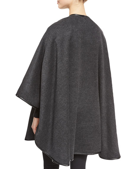Leather-Trim Cashmere Cape