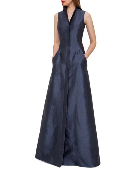 Sleeveless Shantung Gown w/Back A-Cutout