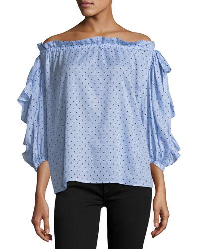 Polka-Dot Off-the-Shoulder Top, Blue