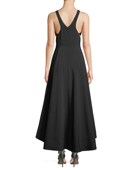 Image 2 of 3: Cutout Stretch Crepe High-Low Gown