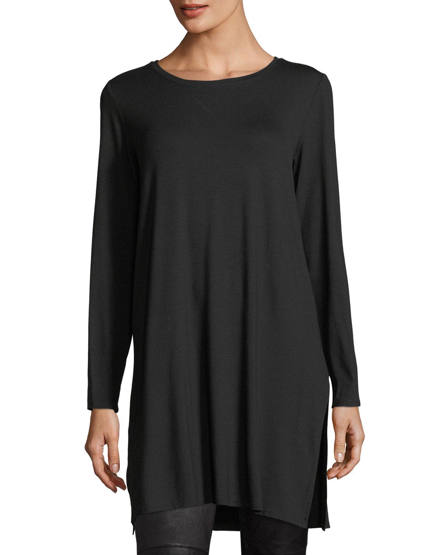 66333192b1541 Eileen Fisher Long-Sleeve Lightweight Viscose Jersey Tunic
