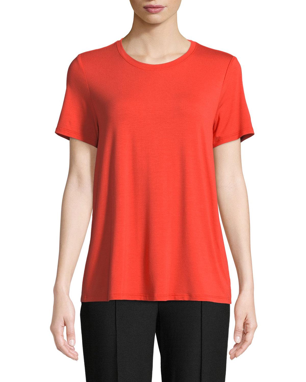 bf067191045 Eileen FisherShort-Sleeve Lightweight Jersey Top