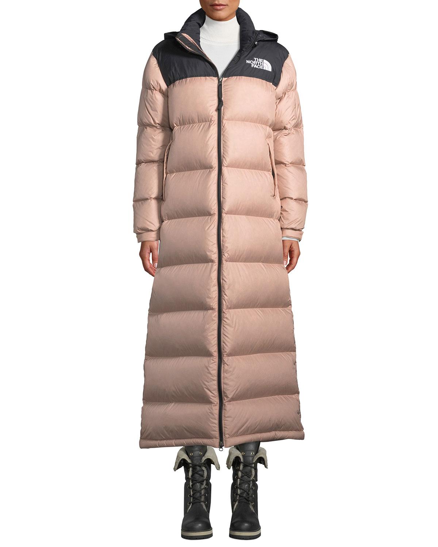 46327d0625b61 The North Face Nuptse Long Duster Puffer Coat w/ Packable Hood ...