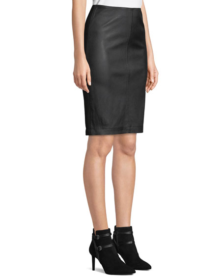 Image 3 of 4: Neiman Marcus Leather Collection Lamb Leather & Ponte Pencil Skirt