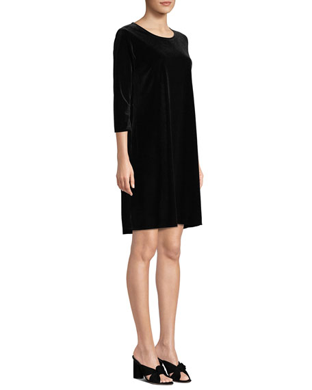Caroline Rose Petite Round-Neck 3/4-Sleeve A-Line Stretch-Velvet Dress